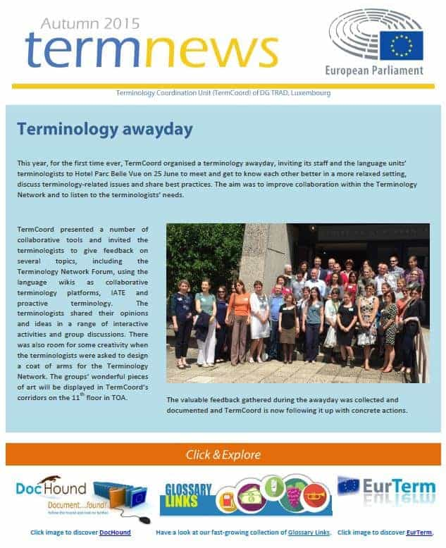 Termnews Terminology Coordination Unit Dgtrad European Parliament