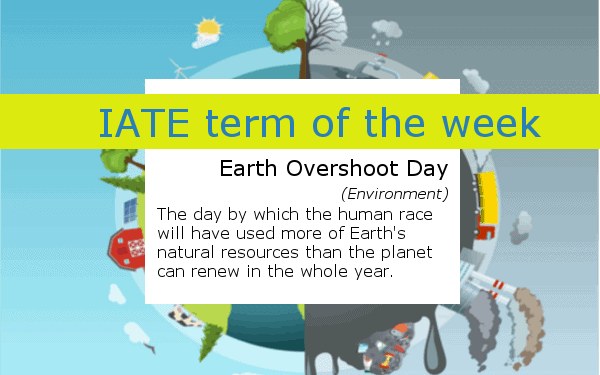 Banner of the IATE Term of the Week - Earth Overshoot Day