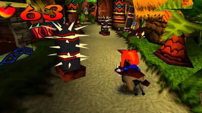 Screenshot of Crash Bandicoot - Crash is riding a wild hog