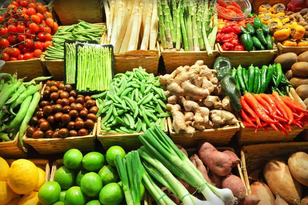 Market stand with vegetables