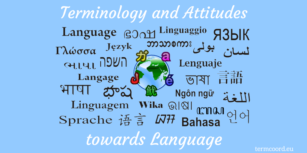 "Terminology and Attitudes towards Language banner - Planet Earth and the word ""Language"" in several languages"