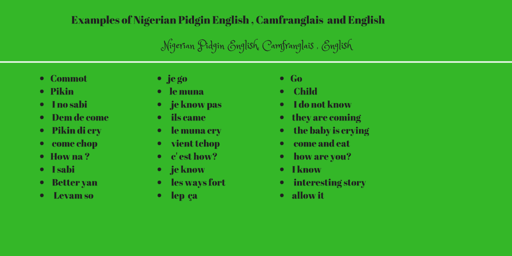 Nigerian pidgin english terminology coordination unit dgtrad in addition a large group of the nigerian community in luxembourg use pidgin as a means of communication these diasporic communities use pidgin among publicscrutiny